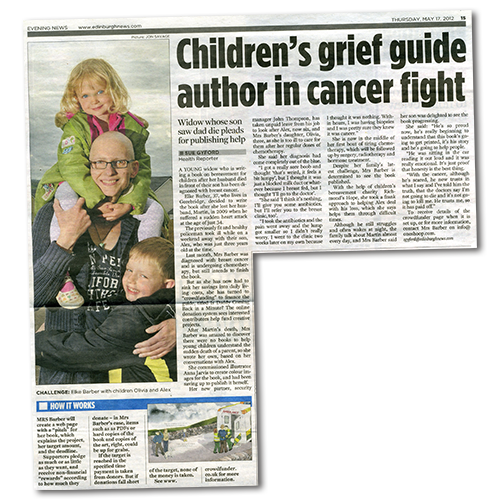 Edinburgh Evening News article: Children's grief guide author in cancer fight