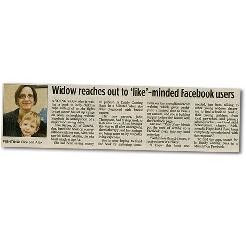 Edinburgh Evening News article: Widow reaches out to 'like'-minded Facebook users