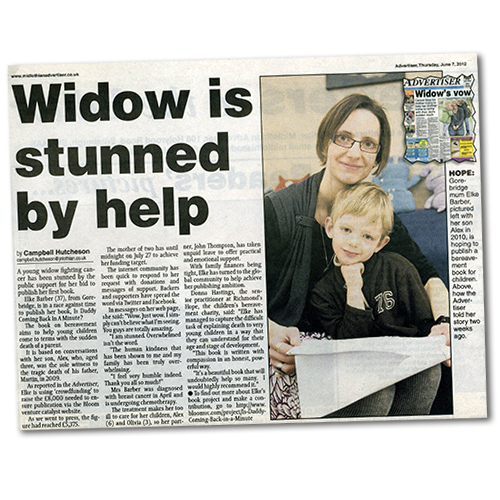Midlothian Advertiser article: Widow is stunned by help