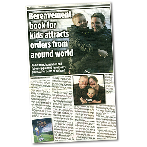 Edinburgh Evening News article: Bereavement book for kids attract orders from around the world