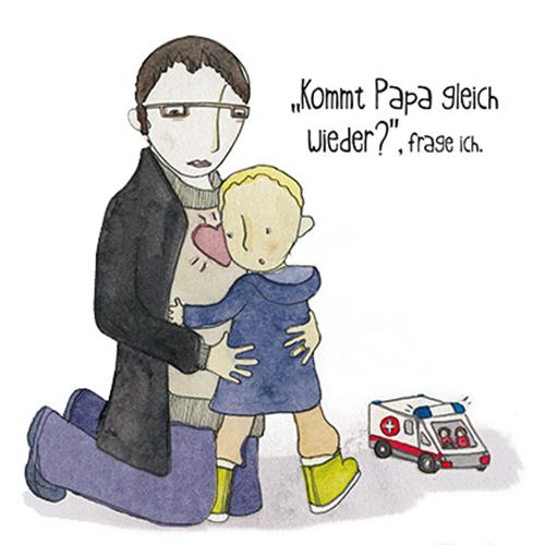 Zeichnung - Alex fragt Mama: Kommt Papa gleich wieder?