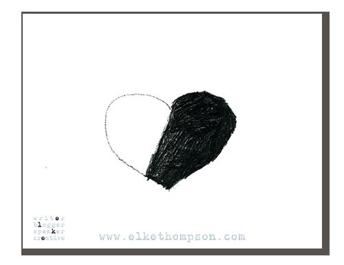 Ein Herz mit zwei Drittel schwarz gefüllt
