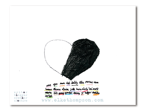 Herz mit zwei Drittel schwarz und jeder Menge Namen unten drunter