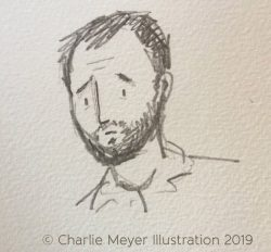 Charlie Meyer Illustration - worried dad sketch